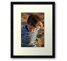 Grover at beach Framed Print