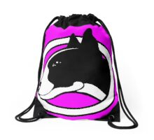 Black and White Bull Terrier Design  Drawstring Bag