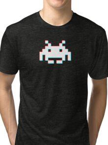 Red Cyan 3D Invader Tri-blend T-Shirt