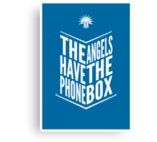 The Angels Have The Phone Box Tribute Poster White On Blue Canvas Print