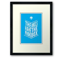 The Angels Have The Phone Box Tribute Poster White On Cyan Framed Print