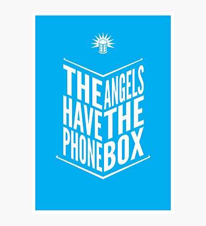 The Angels Have The Phone Box Tribute Poster White On Cyan Photographic Print