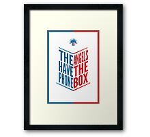 The Angels Have The Phone Box Tribute Poster Dark Blue And Red Knockthrough White Framed Print