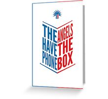 The Angels Have The Phone Box Tribute Poster Dark Blue And Red Knockthrough White Greeting Card