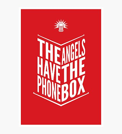 The Angels Have The Phone Box Tribute Poster White On Red Photographic Print