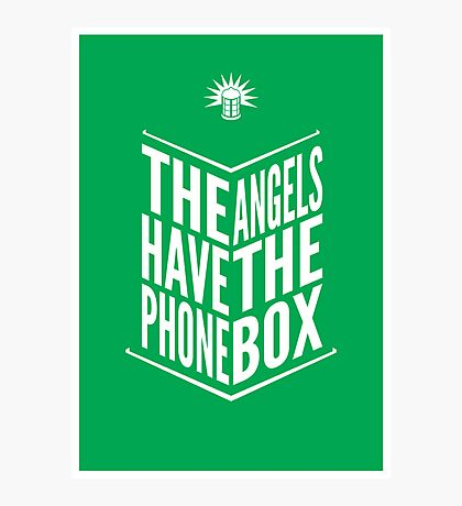 The Angels Have The Phone Box Tribute Poster White on Green Photographic Print