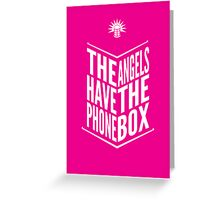 The Angels Have The Phone Box Tribute Poster White on Magenta Greeting Card