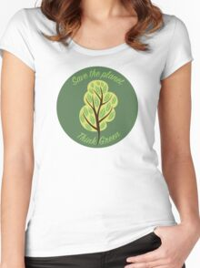 Save the planet Women's Fitted Scoop T-Shirt