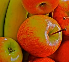 Fresh Fruit - apples and bananas by Cheryl Sterkenburg