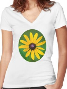 Rudbeckia Flower Art Women's Fitted V-Neck T-Shirt