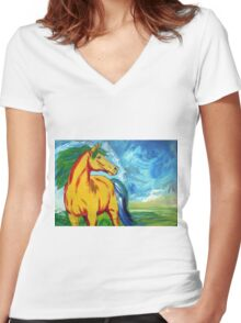 The Yellow Horse Women's Fitted V-Neck T-Shirt