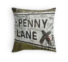 Old Penny Lane Sign Throw Pillow