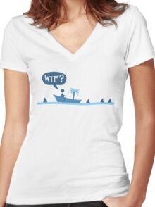 Sharks! Women's Fitted V-Neck T-Shirt
