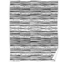 Broken Stripes pattern black and white modern urban brooklyn monochromatic print design ink  Poster