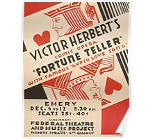 WPA United States Government Work Project Administration Poster 0954 Victor Herbert's Comic Opera Fortune Teller Cincinnati Federal Theatre Poster