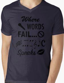 Where Words Fail Music Speaks Mens V-Neck T-Shirt