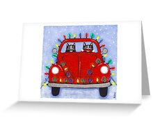 Festive Lights Red Bug Greeting Card