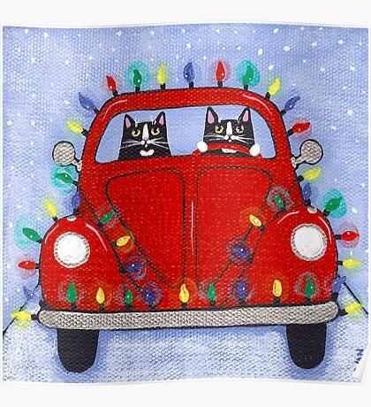 Festive Lights Red Bug Poster