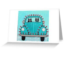 Festive Lights Teal Bug Greeting Card