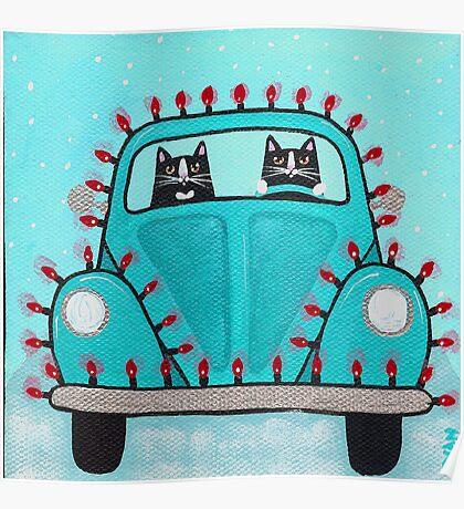 Festive Lights Teal Bug Poster