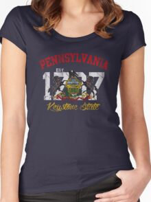 Vintage Pennsylvania Flag Keystone State Women's Fitted Scoop T-Shirt