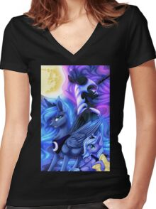 Phases of the Moon Women's Fitted V-Neck T-Shirt