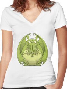 Totoro Cthulhu Women's Fitted V-Neck T-Shirt