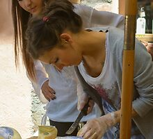 Cheese stall, Radicofani, Tuscany, Italy by Andrew Jones
