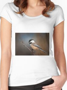Black Capped Chickadee Women's Fitted Scoop T-Shirt