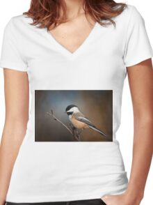 Black Capped Chickadee Women's Fitted V-Neck T-Shirt