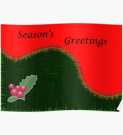 Christmas Card-Holly Poster