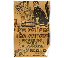 WPA United States Government Work Project Administration Poster 0921 The Cat and the Canary Pickering Park Playhouse Poster
