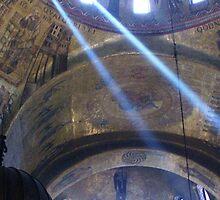 Sun's rays at St. Mark's Basilica, Venice. by Brian220