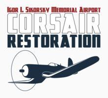 Sikorsky Memorial Airport Corsair Restoration Kids Tee