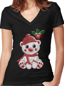 Christmas Bear  Women's Fitted V-Neck T-Shirt