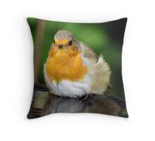 Fat Bathing Robin Throw Pillow