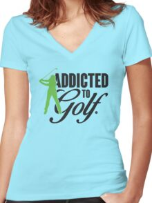 Addicted to Golf Women's Fitted V-Neck T-Shirt