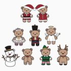 Little Bears in Christmas icons-full color by funfang