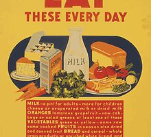 WPA United States Government Work Project Administration Poster 0887 Eat These Every Day Milk Vegetable Fruit Bread Meat Eggs Butter by wetdryvac