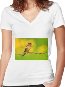 Barn Swallow On Barbwire Women's Fitted V-Neck T-Shirt