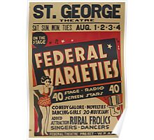 WPA United States Government Work Project Administration Poster 0766 Federal Varieties Federal Theatre Project Poster