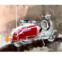 Red Lambretta Photographic Print