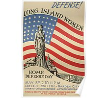 WPA United States Government Work Project Administration Poster 0669 Defense Long Island Women Adelphi College Exhibits Demonstrations Lectures Drills Music Poster