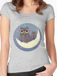 Owls on the Crescent Moon Women's Fitted Scoop T-Shirt
