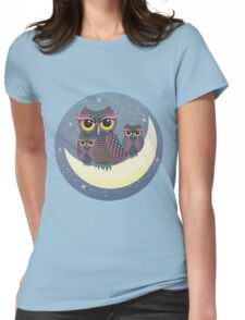 Owls on the Crescent Moon Womens Fitted T-Shirt