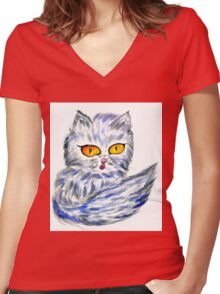 Persian Cat Women's Fitted V-Neck T-Shirt