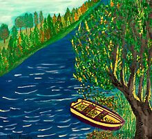 View of river with boat by Antonella  Macri
