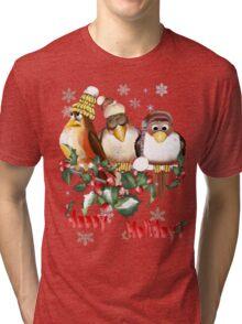 Happy Holidays Chirstmas Birds Tri-blend T-Shirt