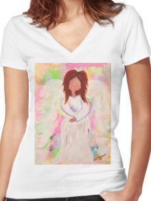Angel of Peace Women's Fitted V-Neck T-Shirt