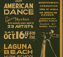 WPA United States Government Work Project Administration Poster 0835 Festival of American Dance Myra Kinch Laguna Beach High School Auditorium by wetdryvac